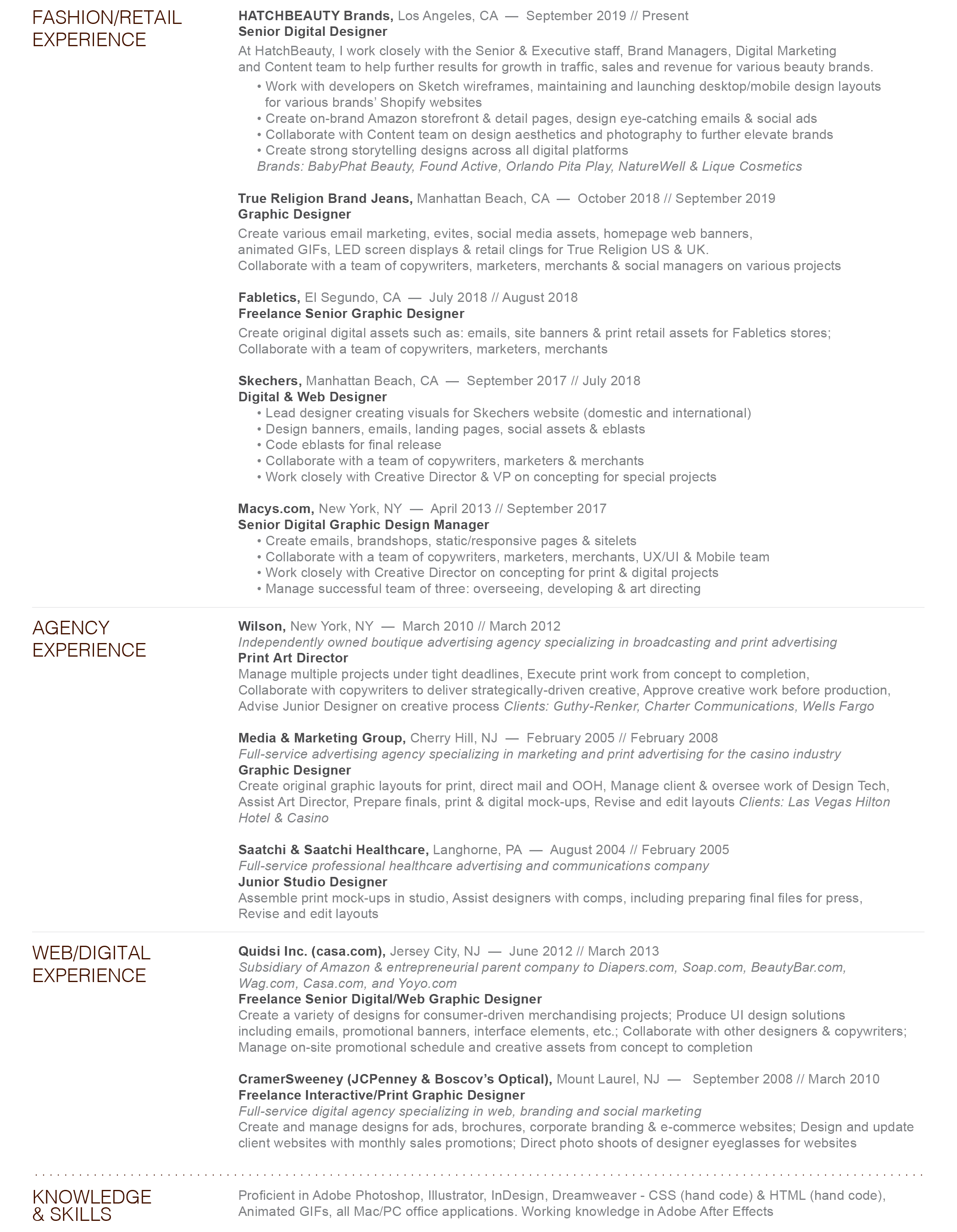 Interactive Copywriter Resume